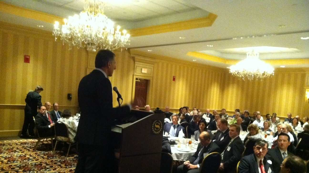 Gov. Peter Shumlin addresses a crowd of Vermont-Quebec business leaders at the Sheraton Hotel Thursday