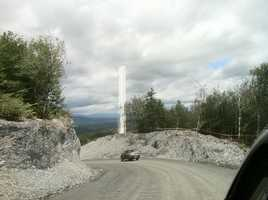A wind turbine is under construction on Lowell Mountain.