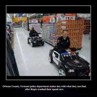 """""""Orleans County, Vermont police dept makes due with what they can find after Roger crushed their squad cars."""""""