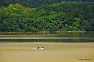 Two Vermonters braved the Springfield, VT reservoir the day after Irene.