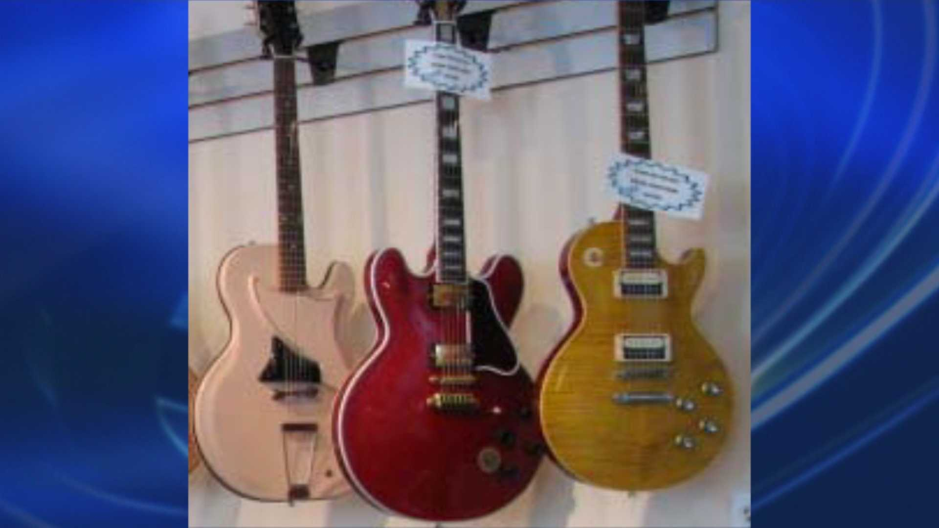 Lebanon Police are looking for these three guitars taken from Bear Hollow Vintage Guitars.