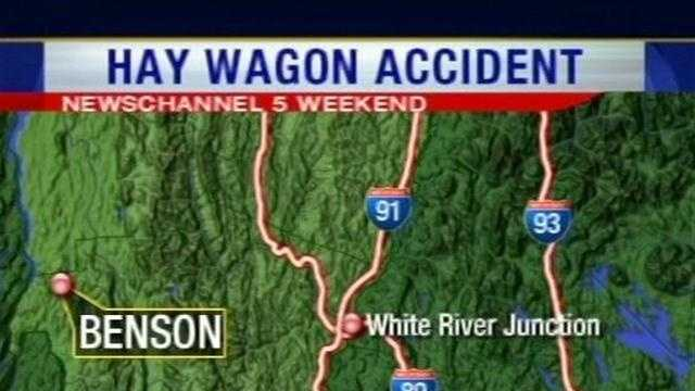 A man playing a scary character at a haunted hayride event in Benson, Vt., has been hospitalized after being struck by a tractor and wagon carrying revelers.