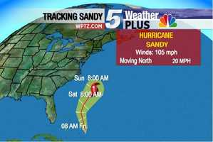 Sunday, 8 A.M: Winds 105 MPH, Moving north at 20 MPH