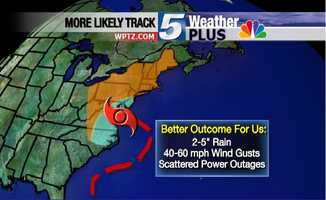 Tracking Hurricane Sandy: 2-to-5 inches of rain, winds at 40 - 60 MPH, scattered power outages