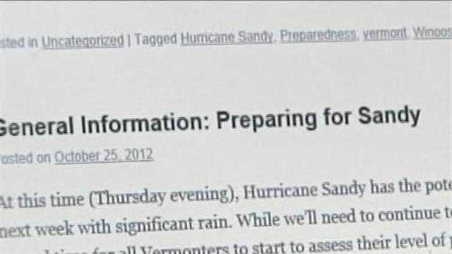 During an emergency like preparing for a hurricane getting real time information becomes critical.  Vermont Response, a social media site that was started after Tropical Storm Irene, is now a great source for everything Sandy