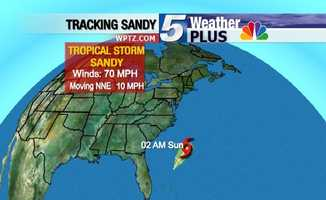 Tropical Storm Sandy: Sunday at 2 a.m., winds 70 mph, moving NNE at 10 mph