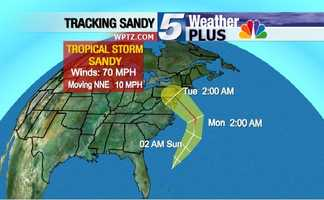 Tracking Sandy: Tuesday, 2 a.m., winds at 70 mph, moving NNE at 10 mph.