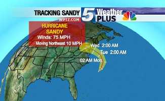 Tracking Sandy: Wednesday, 2 a.m., winds 75 mph, moving northeast at 10 mph.