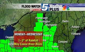 1 to 3 inches of rain is expected Monday through Wednesday. Rivers mat rise.
