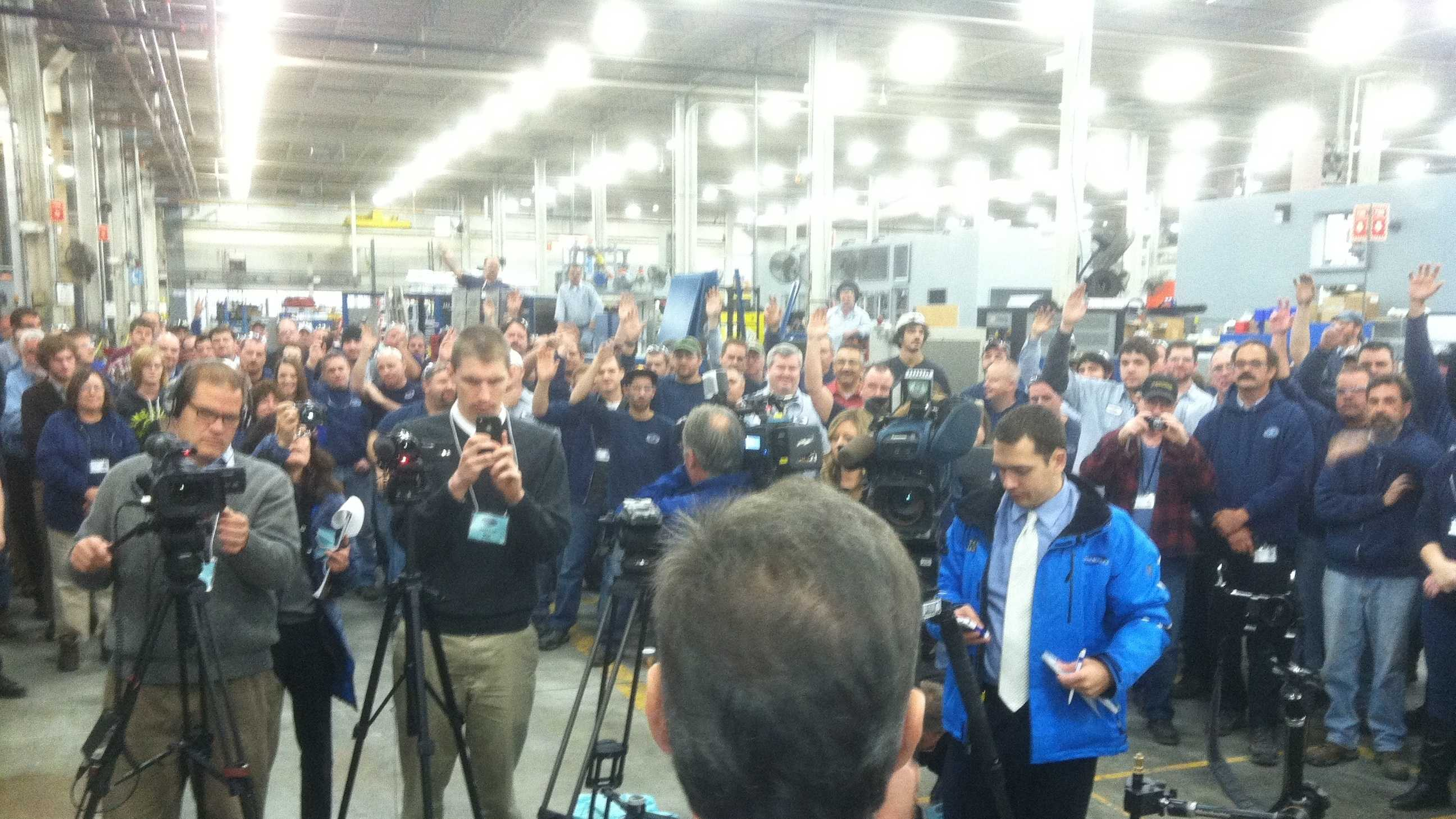 Newly re-elected Gov. Shumlin addresses reporters and factory workers at Dynapower in South Burlington Wednesday.