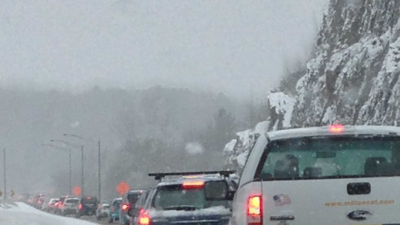 Traffic at a standstill along I-89 in Richmond Monday morning.