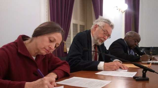 Sherry Merrick, William Sander, and Kevin Christie cast Vermont's three Electoral College votes for President Obama Monday morning at the Statehouse.