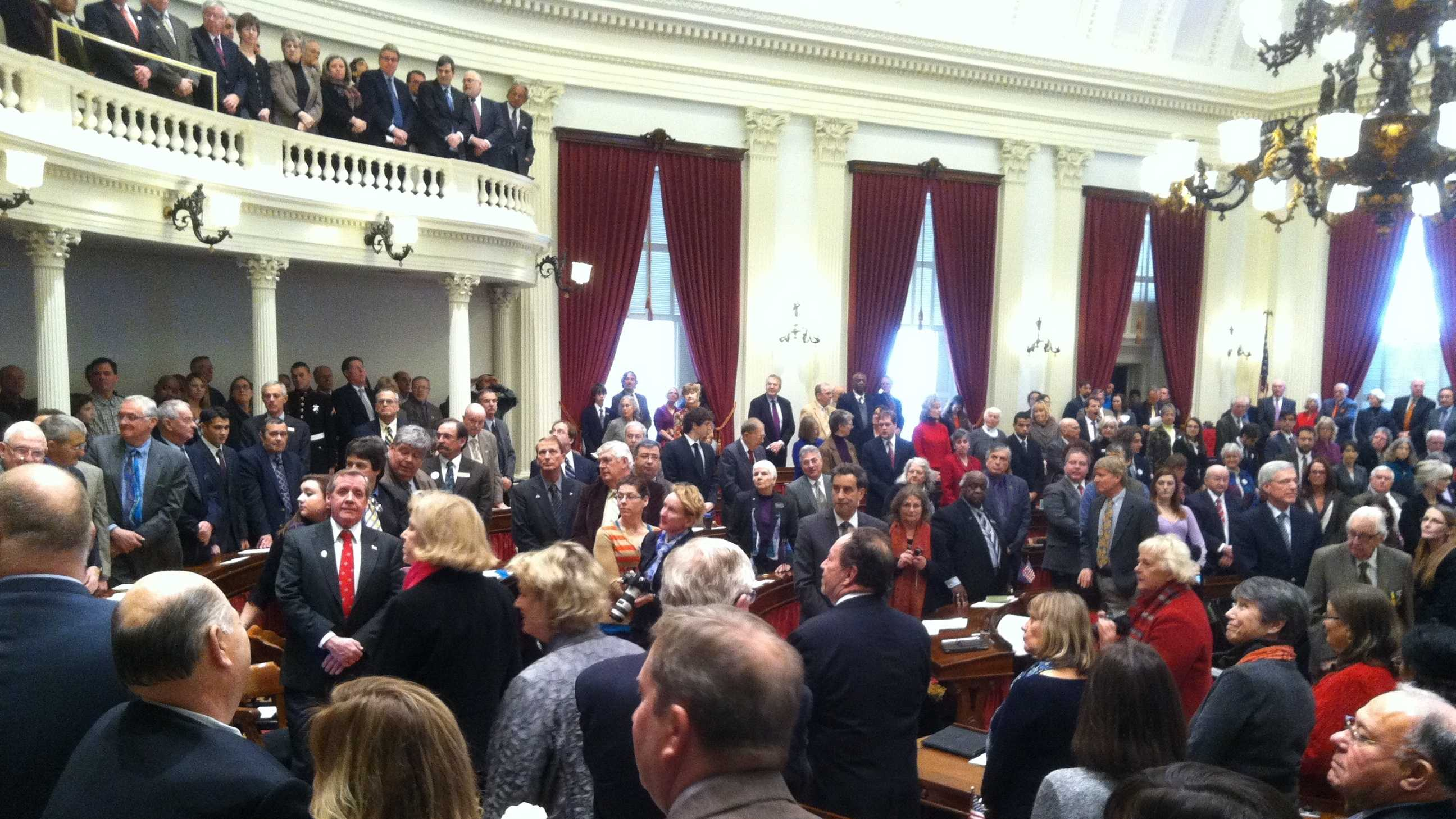 Vermont lawmakers and hundreds of guests pack the House chamber awaiting the start of the inauguration ceremony Thursday afternoon.
