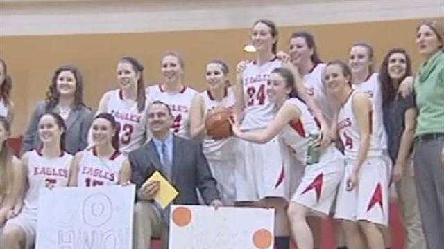 Beekmantown sophomore, Shannon Ryan, scores her 1,000th career point in the eagles win over Saranac.