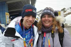 Josh Beaupre is all smiles with his mom Karen Bogdan who travelled to watcher her son complete