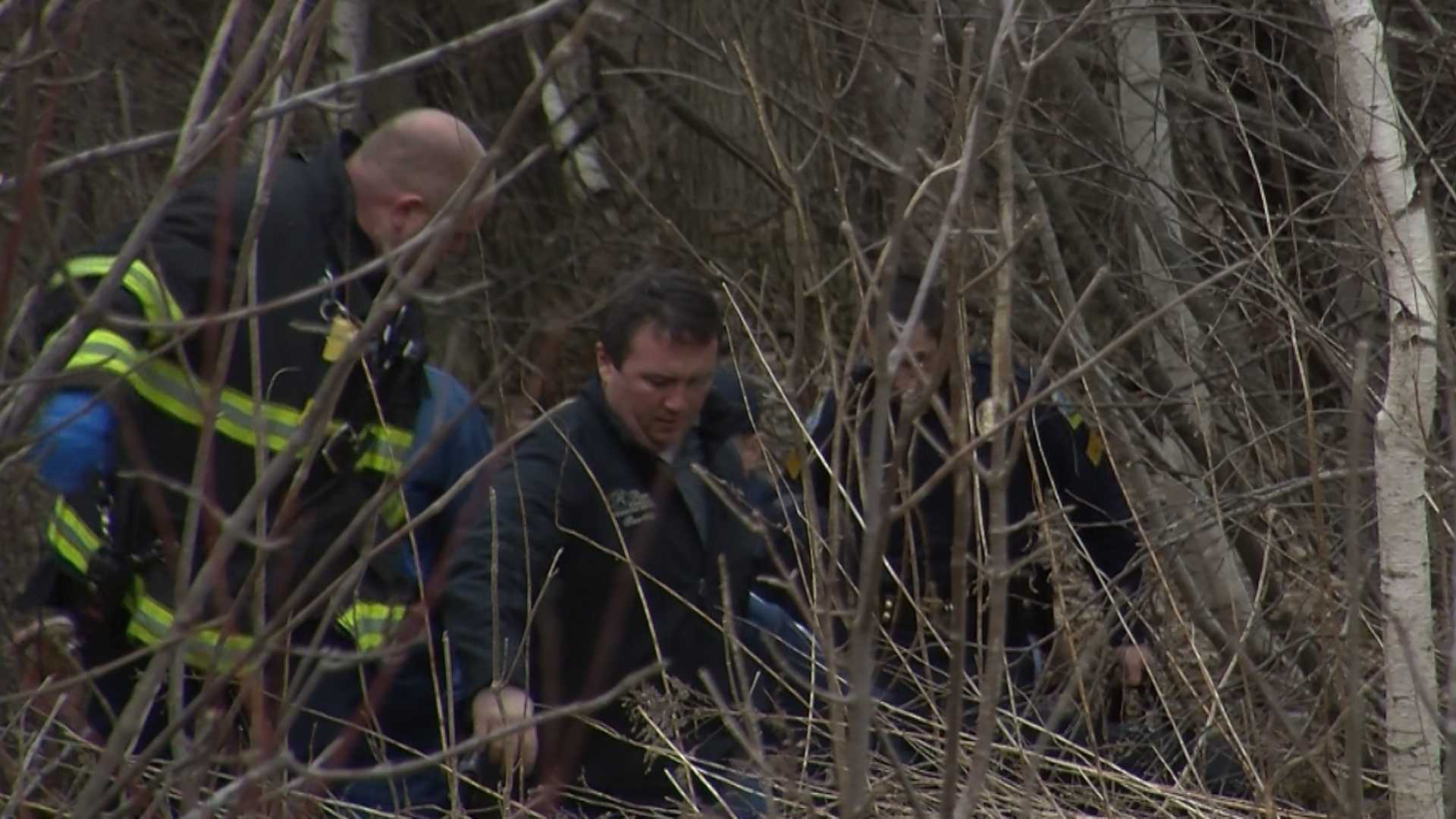 Police are on the scene in a wooded section of East Commerce Way in Williston, where a body was found.