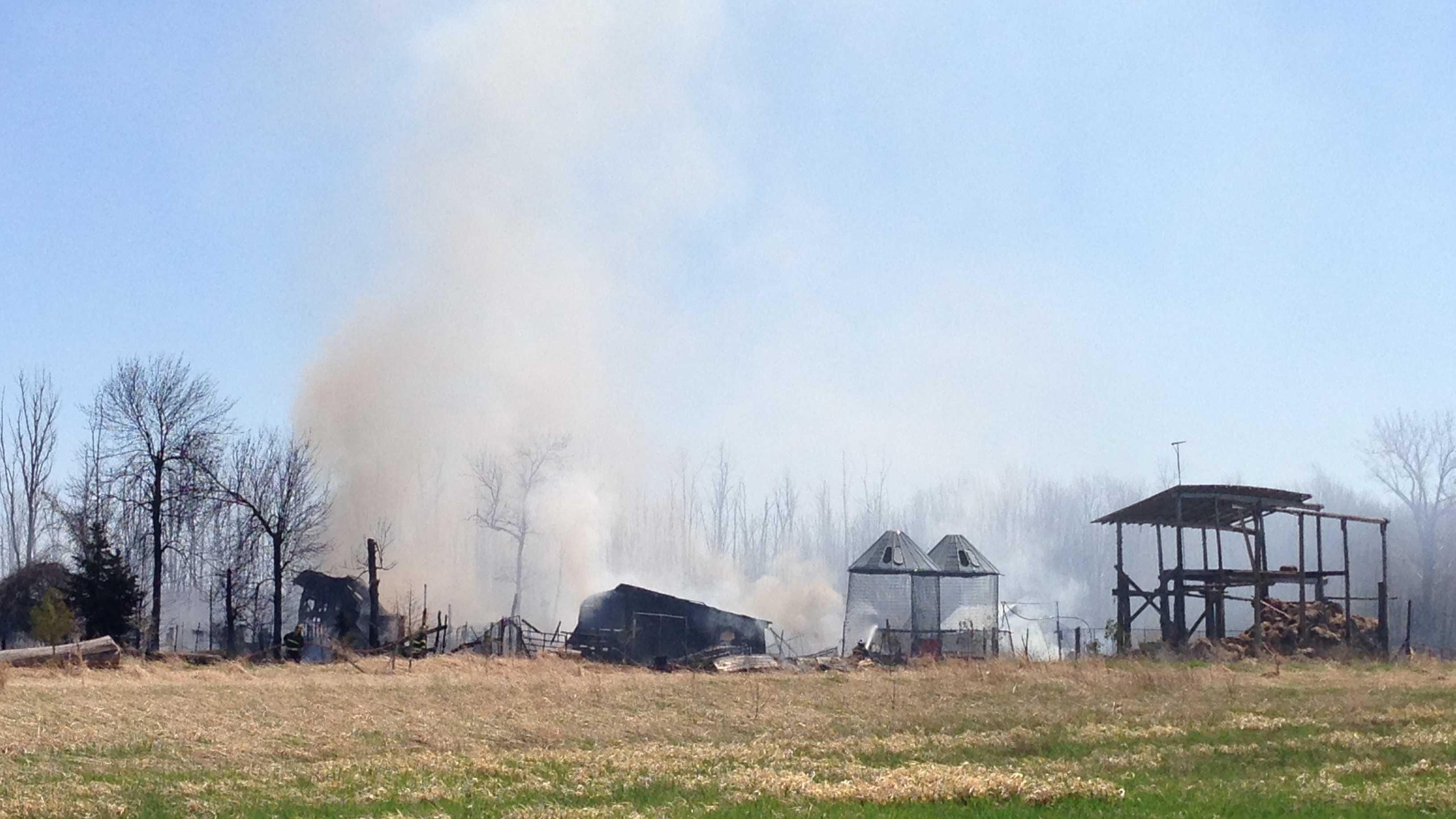 05-03-13 Farmhouse, barn burn in Chazy fire - img