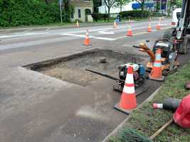 Road crews are busy making repairs to streets that were damaged by heavy overnight rains that hammered the region.