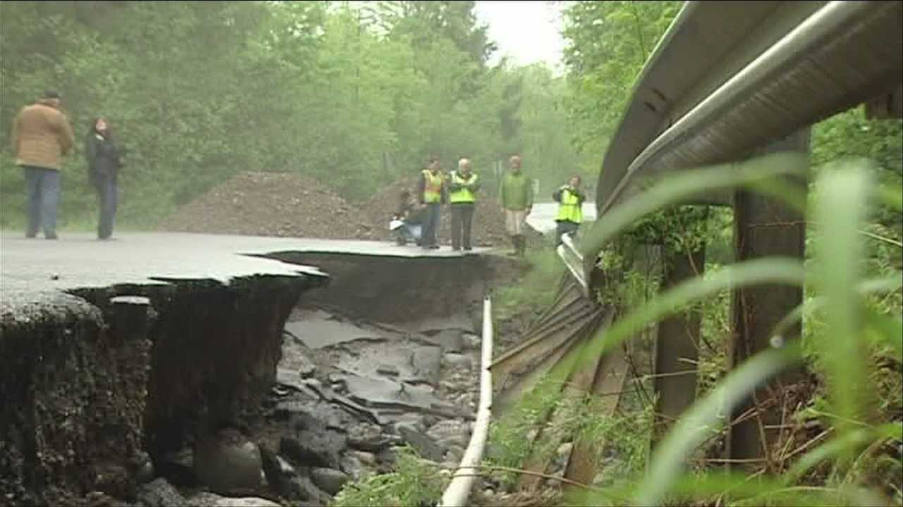 North Underhill Station Road in Underhill, Vt. is one of close to 40 roads in the town that partially crumbled under a pounding assault from flash floods late last week, said Underhill road foreman Nate Sullivan. The damage followed around 10 inches of rain over just a few days