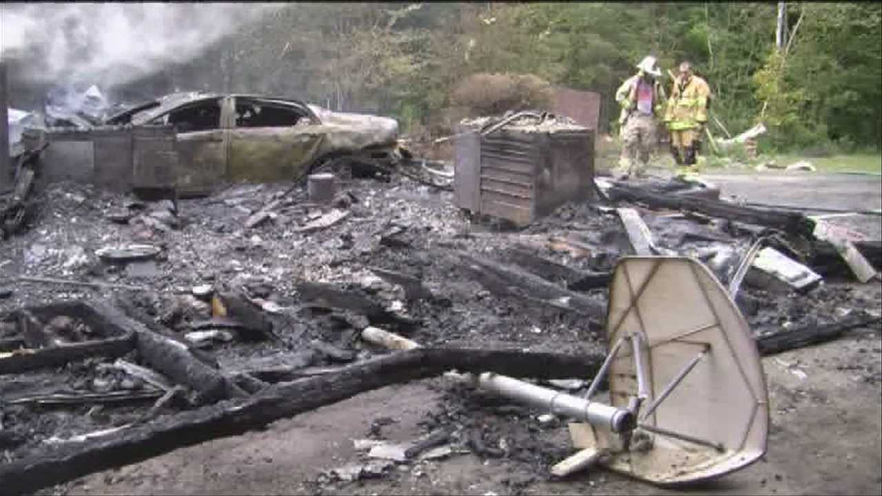 A Morristown, Vt., home was destroyed Wednesday from an explosion believed to have been sparked by a garage door opener.