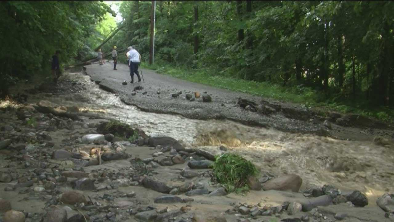 Flash floods leave washouts, homes flooded in Huntington