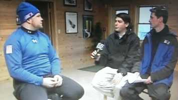 Interviewing Steve Holcomb, the man who would win the U.S.A.'s first gold medal in the four-man bobsled since 1948...
