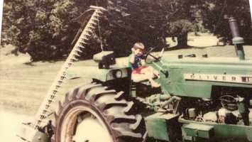 He has always been just as much at home on equipment around his parents' farm as he is on a boat.
