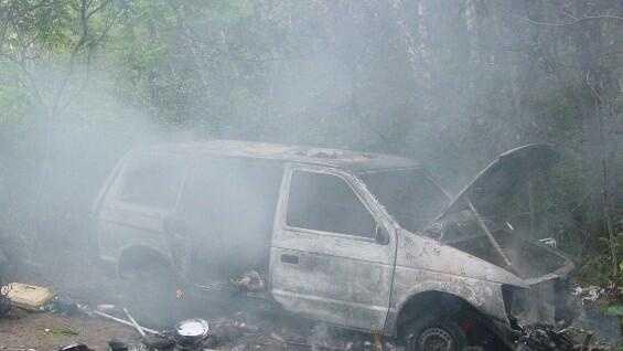 Minivan on fire at Vt homeless encampment - img