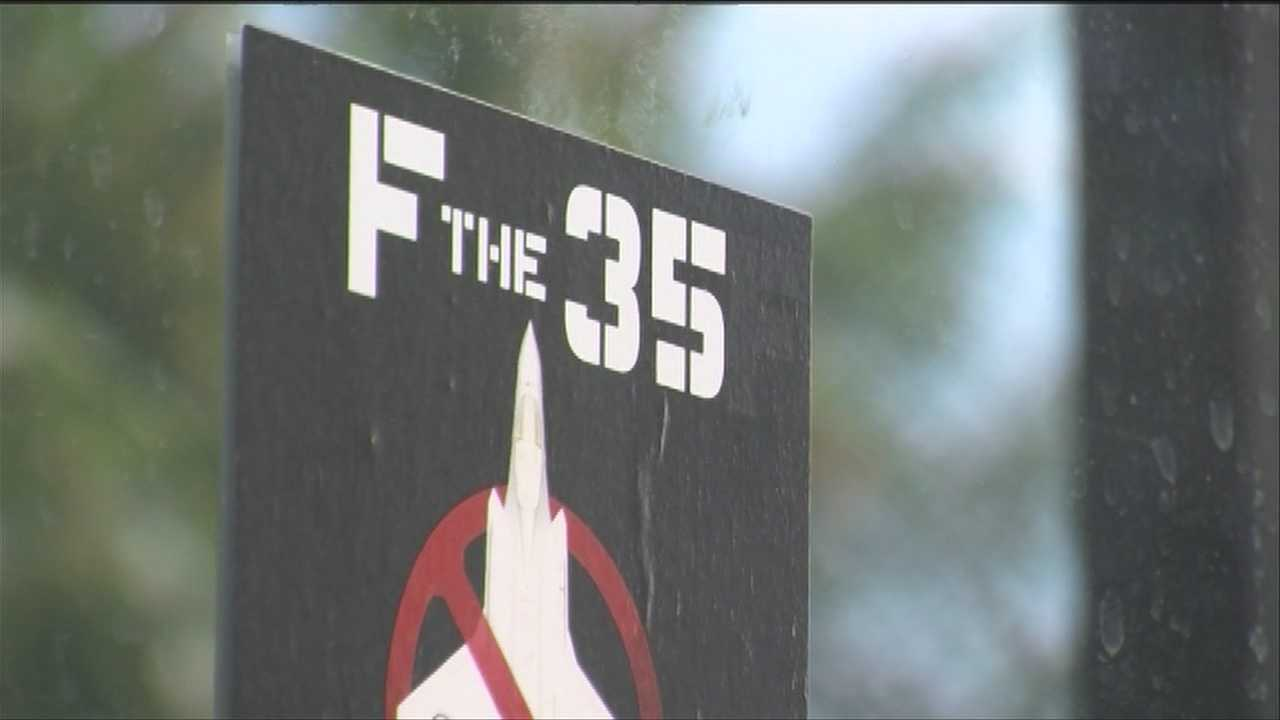 'F the 35': Racy stickers oppose basing