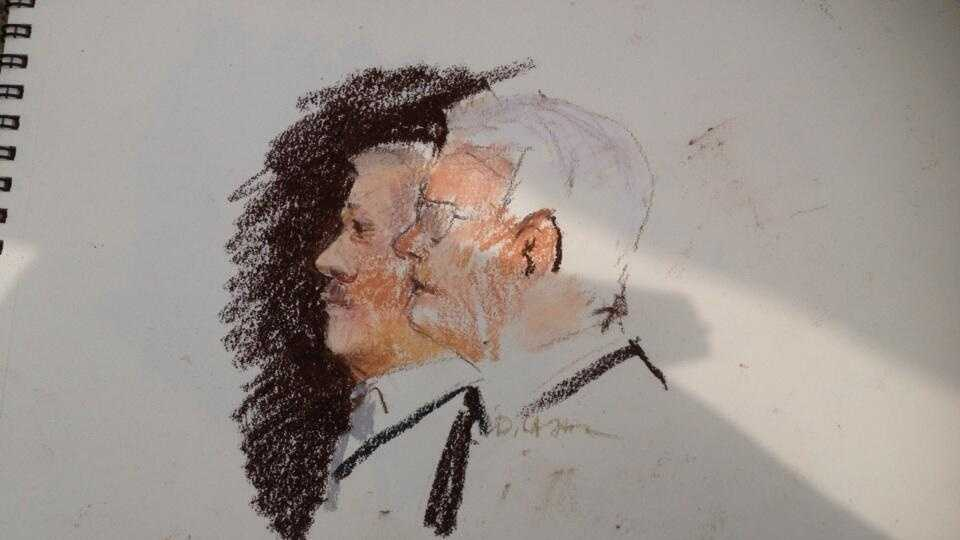 Sketch art rendering of Jacques with his defense attorney in federal court.