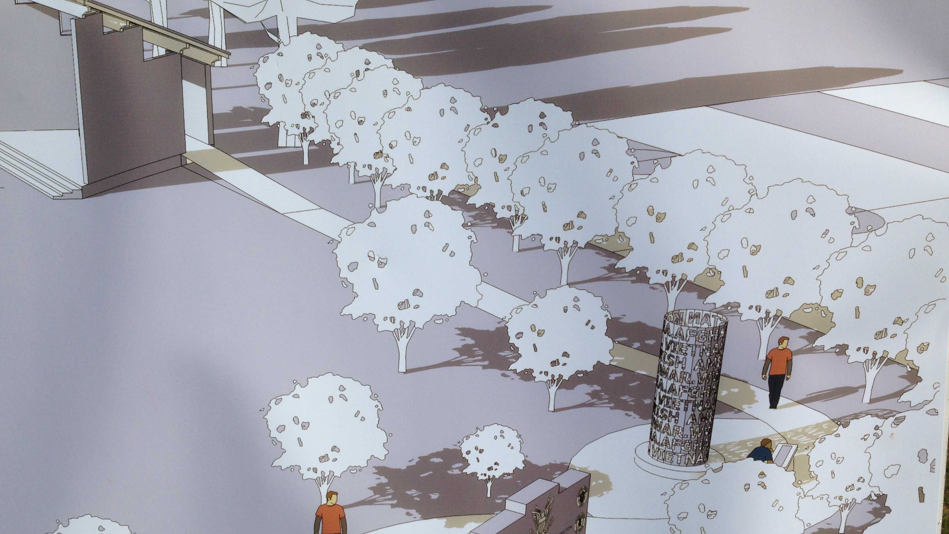 08-28 Veterans memorial under construction  - sketch - img