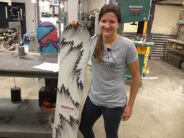 Snowboard champion Kelly Clark was at Burton on Friday helping to craft her snowboard.