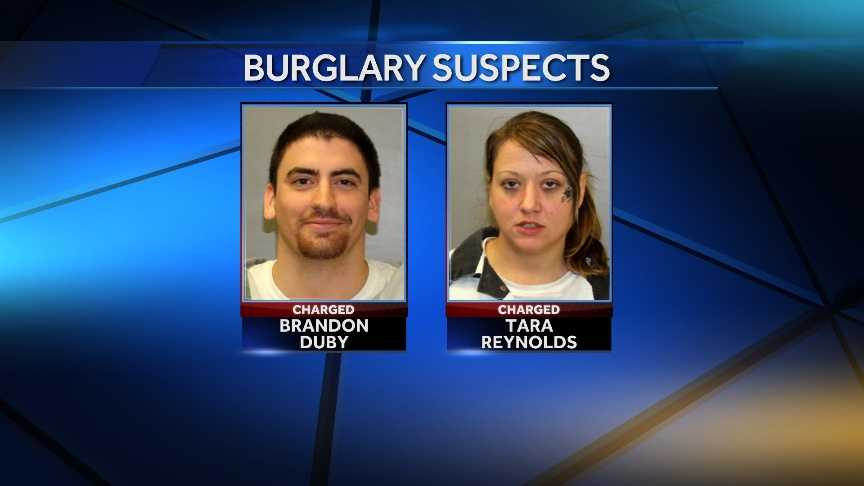 Brandon S. Duby, 22, and Tara L. Reynolds, 34, both of Peru, New York, are facing multiple burglary-related charges for their alleged roles in a string of North Country break-ins.