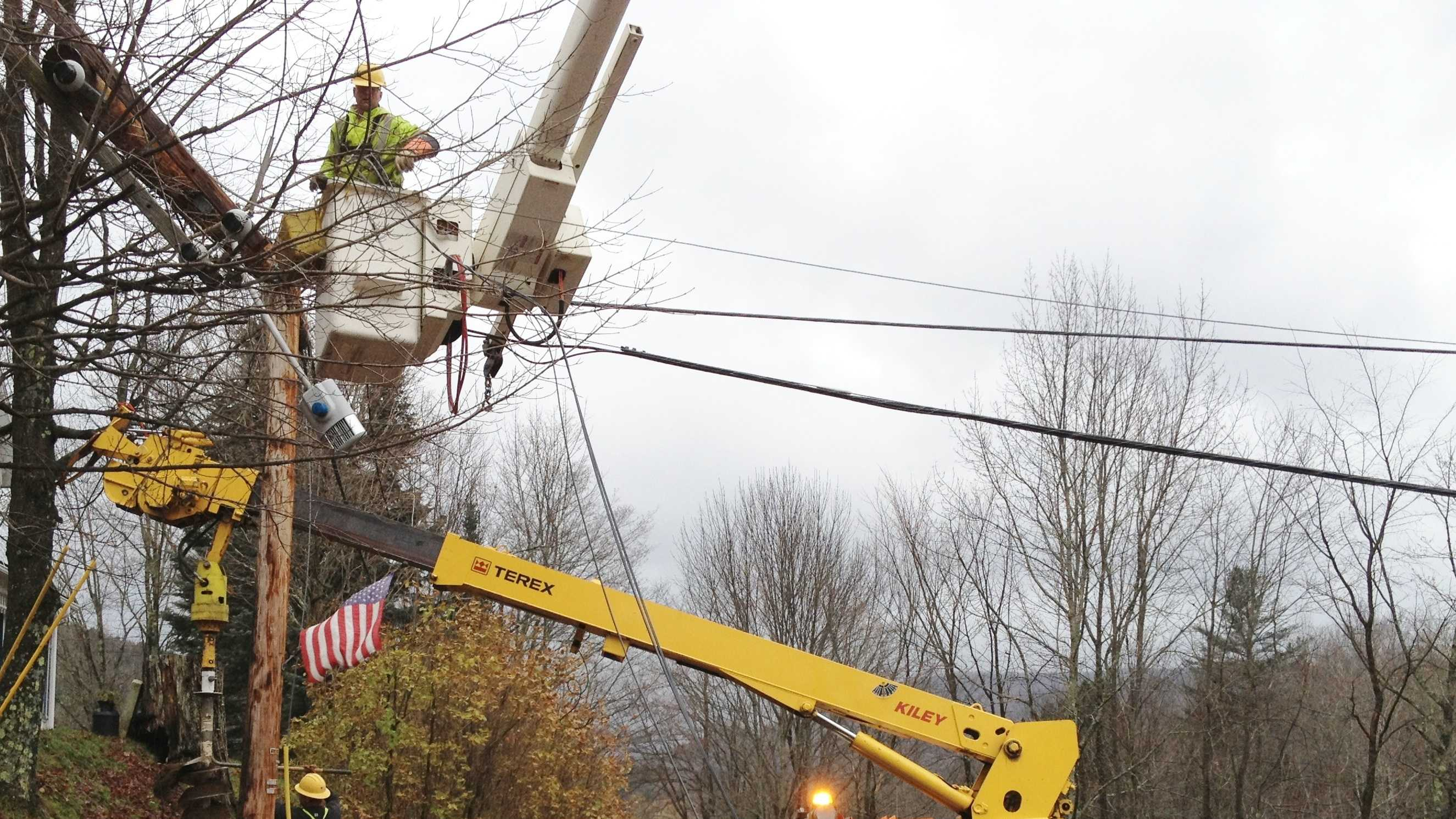 GMP crews restoring power in Warren, Vermont on Friday.