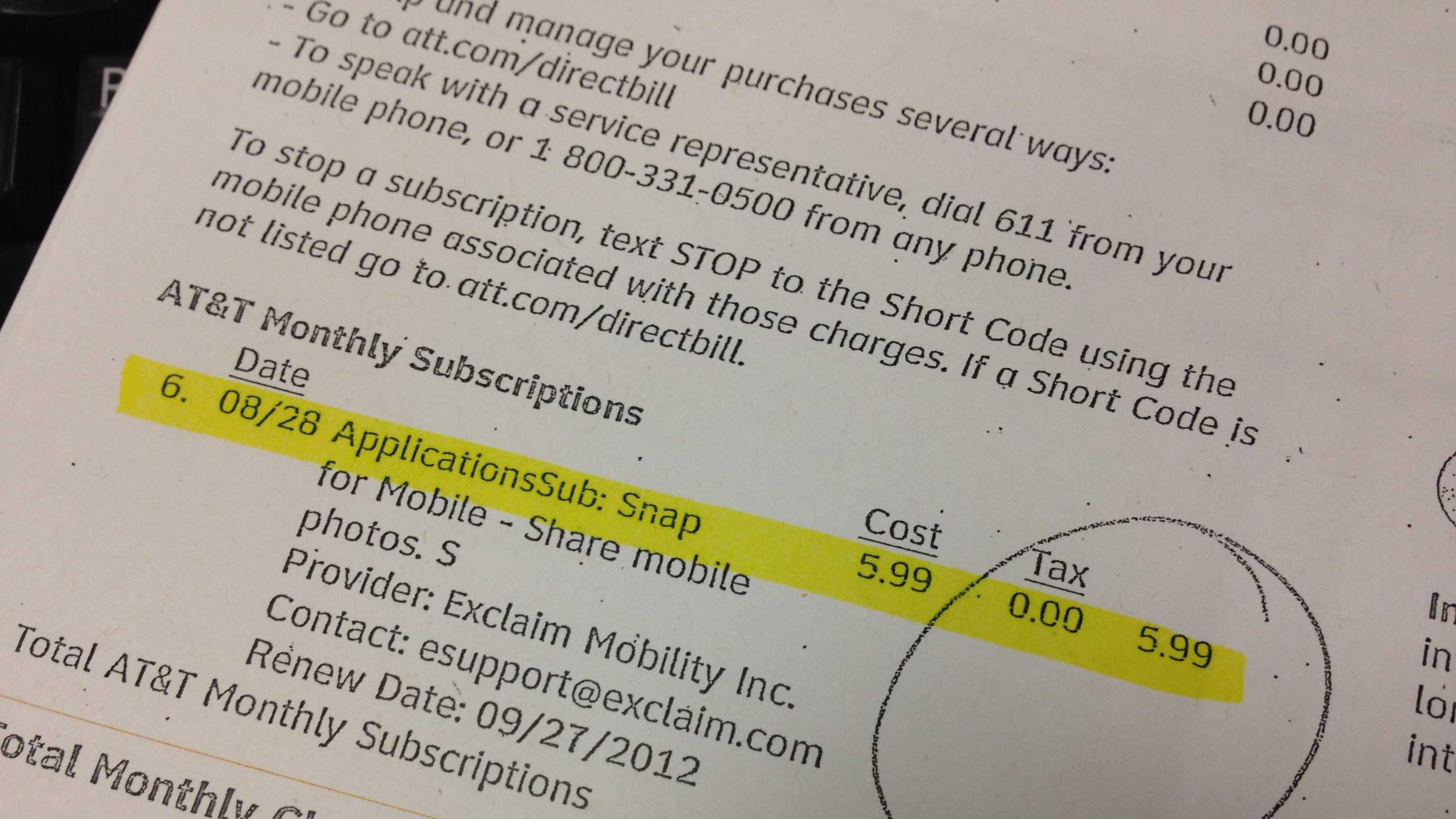 An example of a third-party add-on charge on a wireless phone bill.