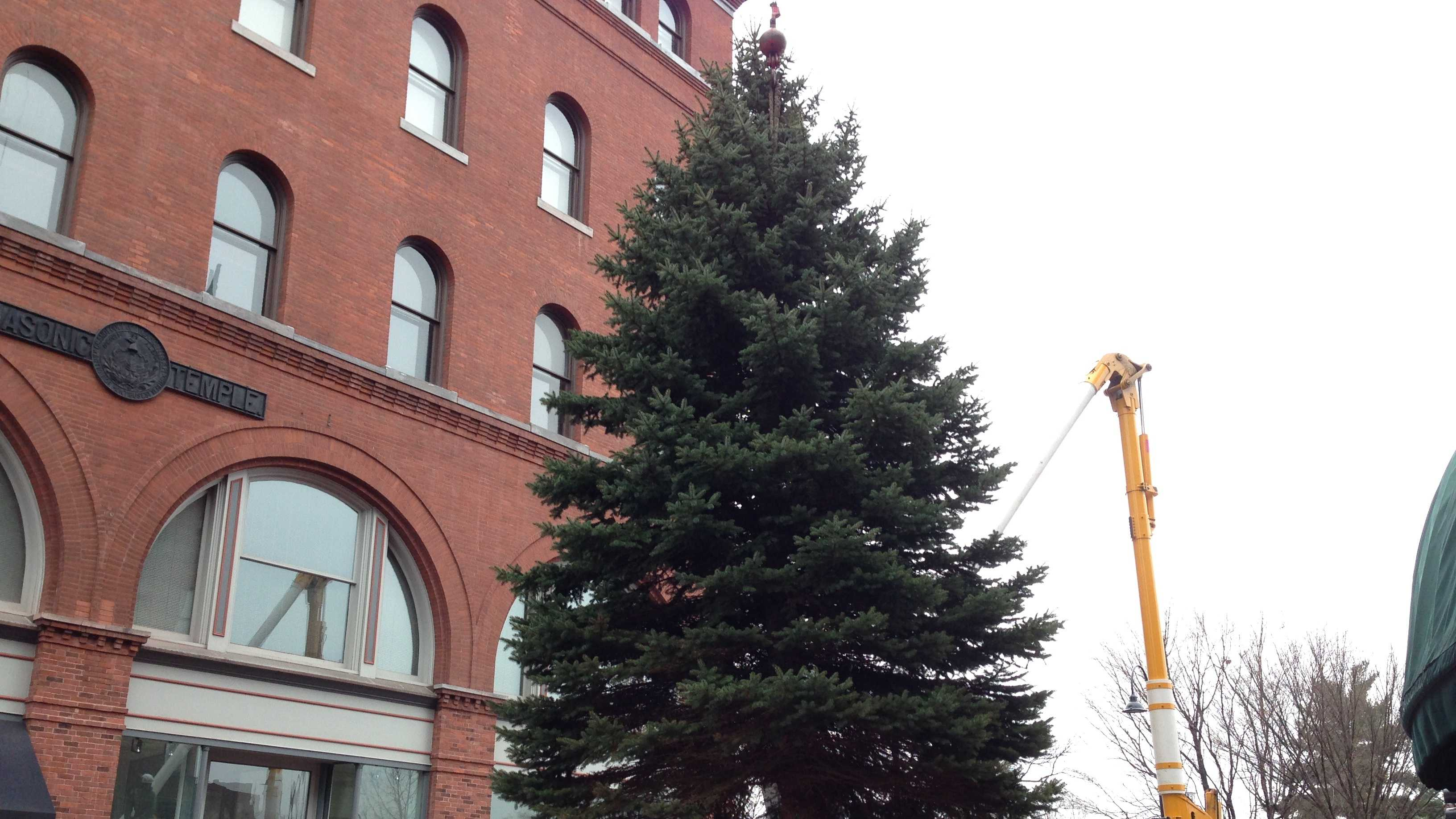 The 2013 Christmas tree arrives on the Church St. Marketplace.