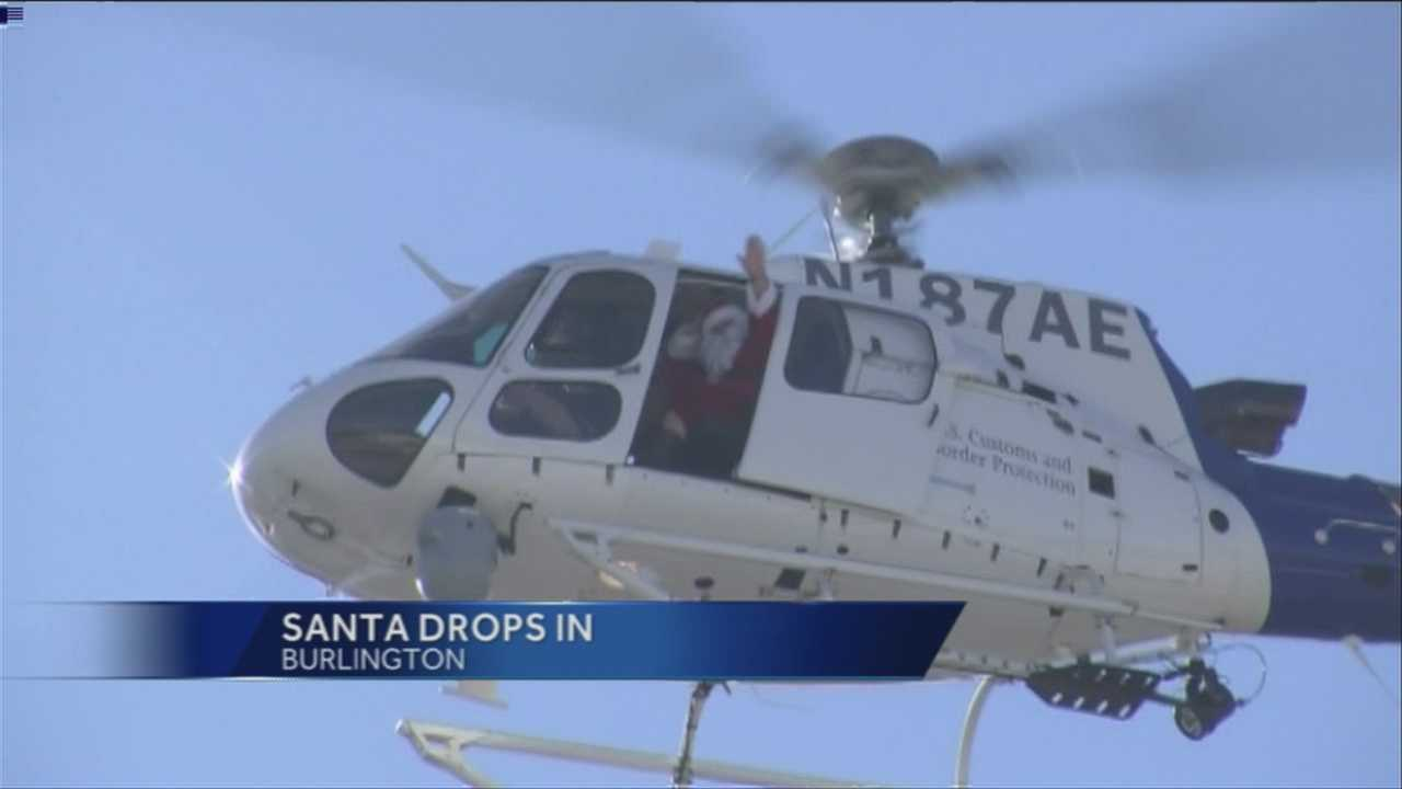 St. Nick pops by via helicopter