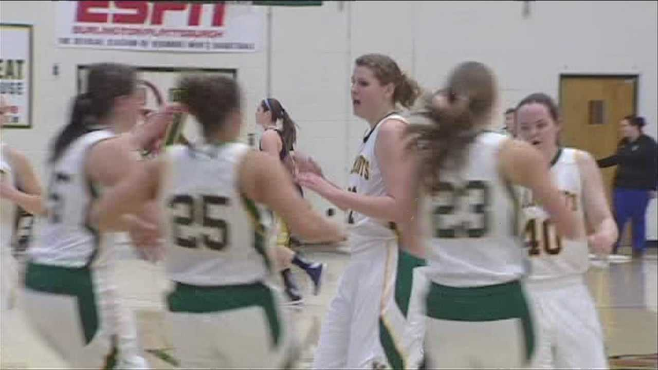 Vermont women's basketball team sports festive sweaters, and a big win.