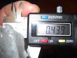 Gary Piorier sent in a photo of a chunk of ice measuring .43 inches wide found in Milton, Vermont.