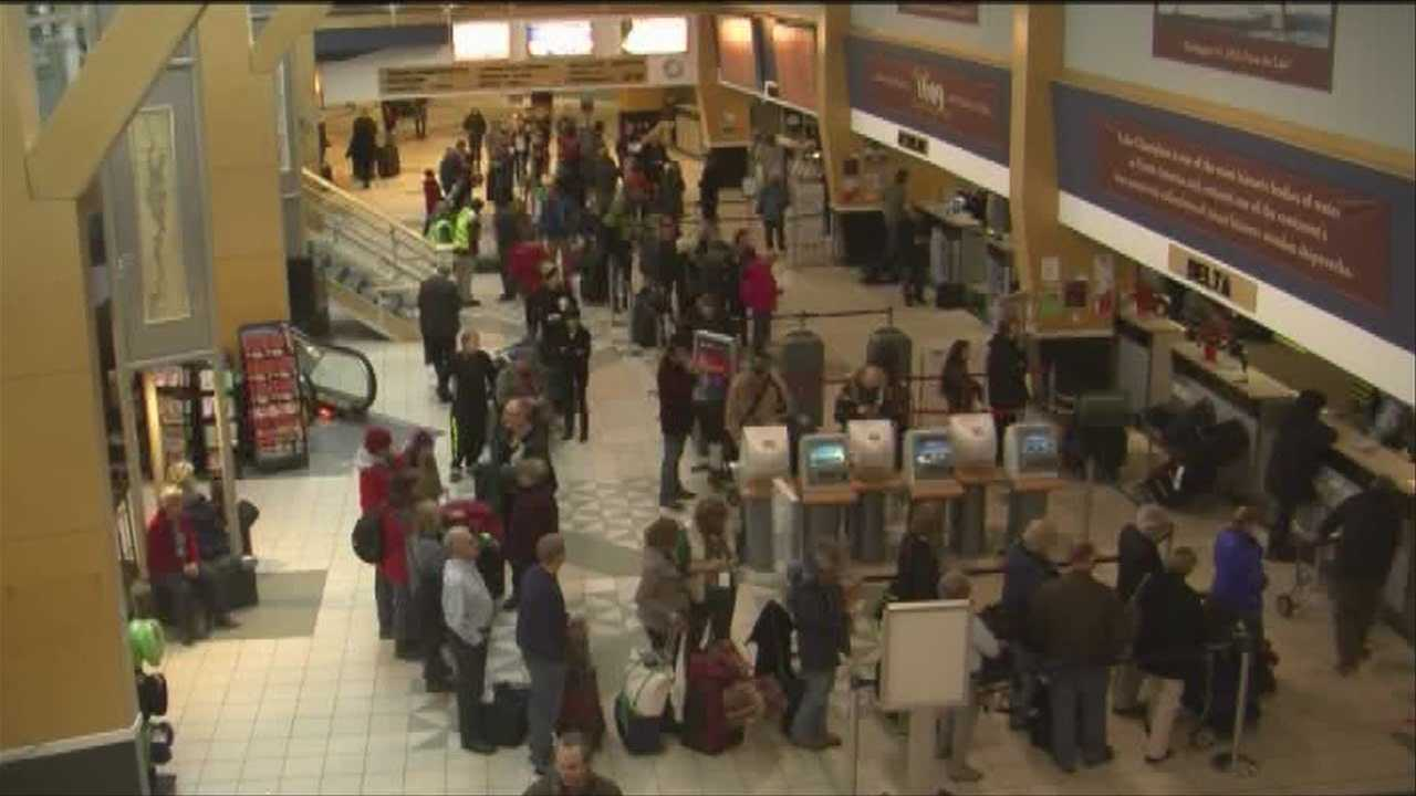 Winter weather forced airlines to cancel flights across the Northeast. Eight flights diverted to Burlington due to bad weather.