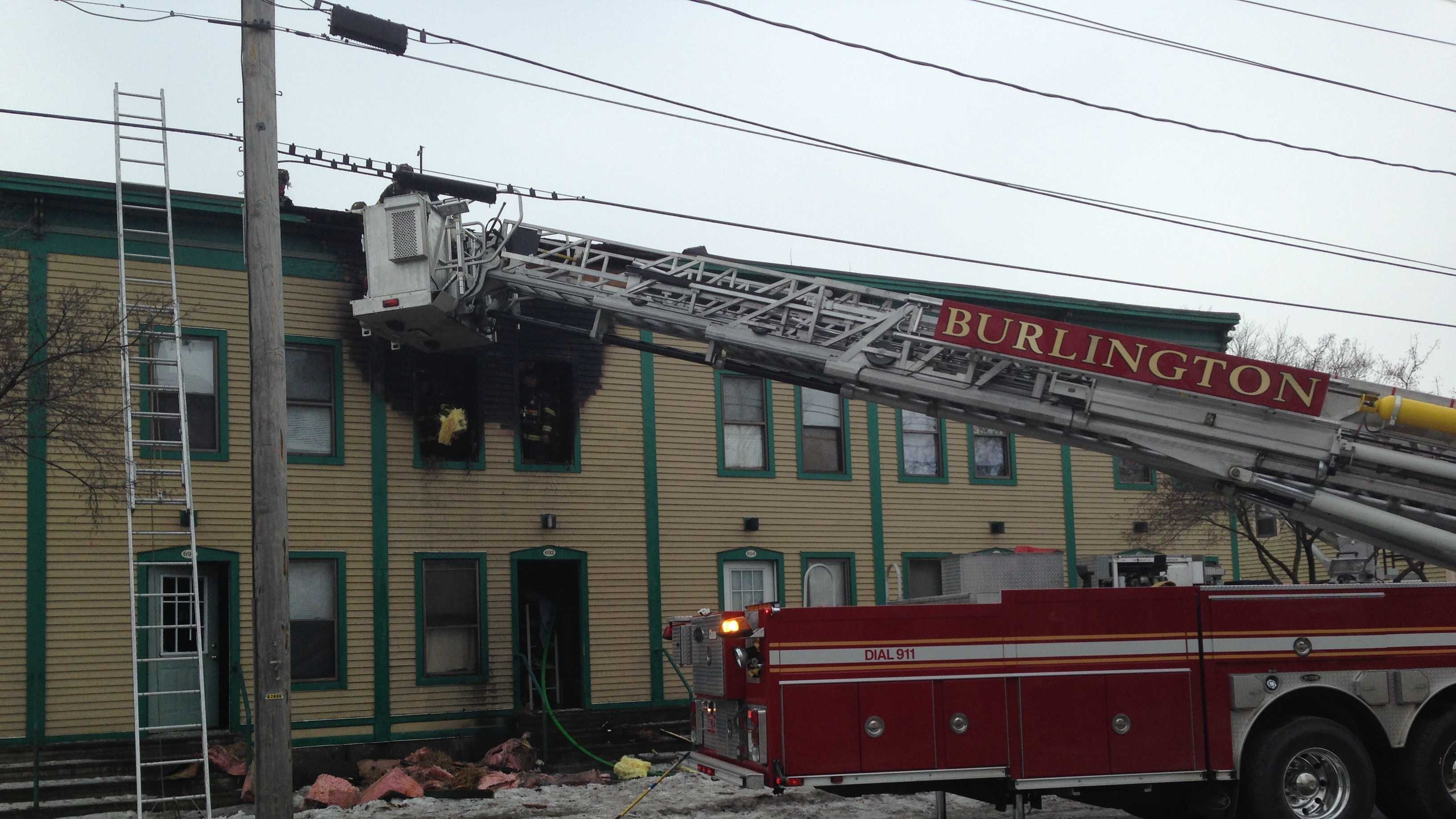 Fire crews responded to a second-floor apartment fire Monday morning on Riverside Avenue in Burlington.