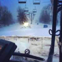 Early morning grooming at Okemo Mountain.