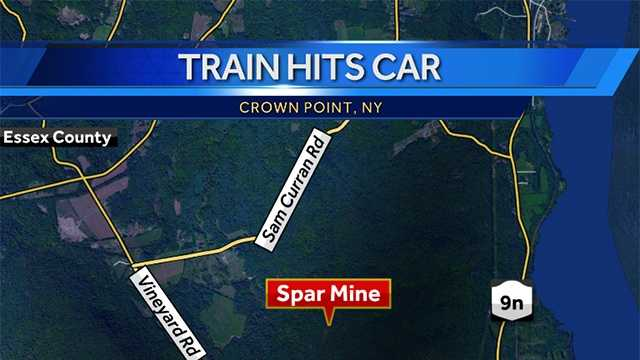 Train hits car on tracks