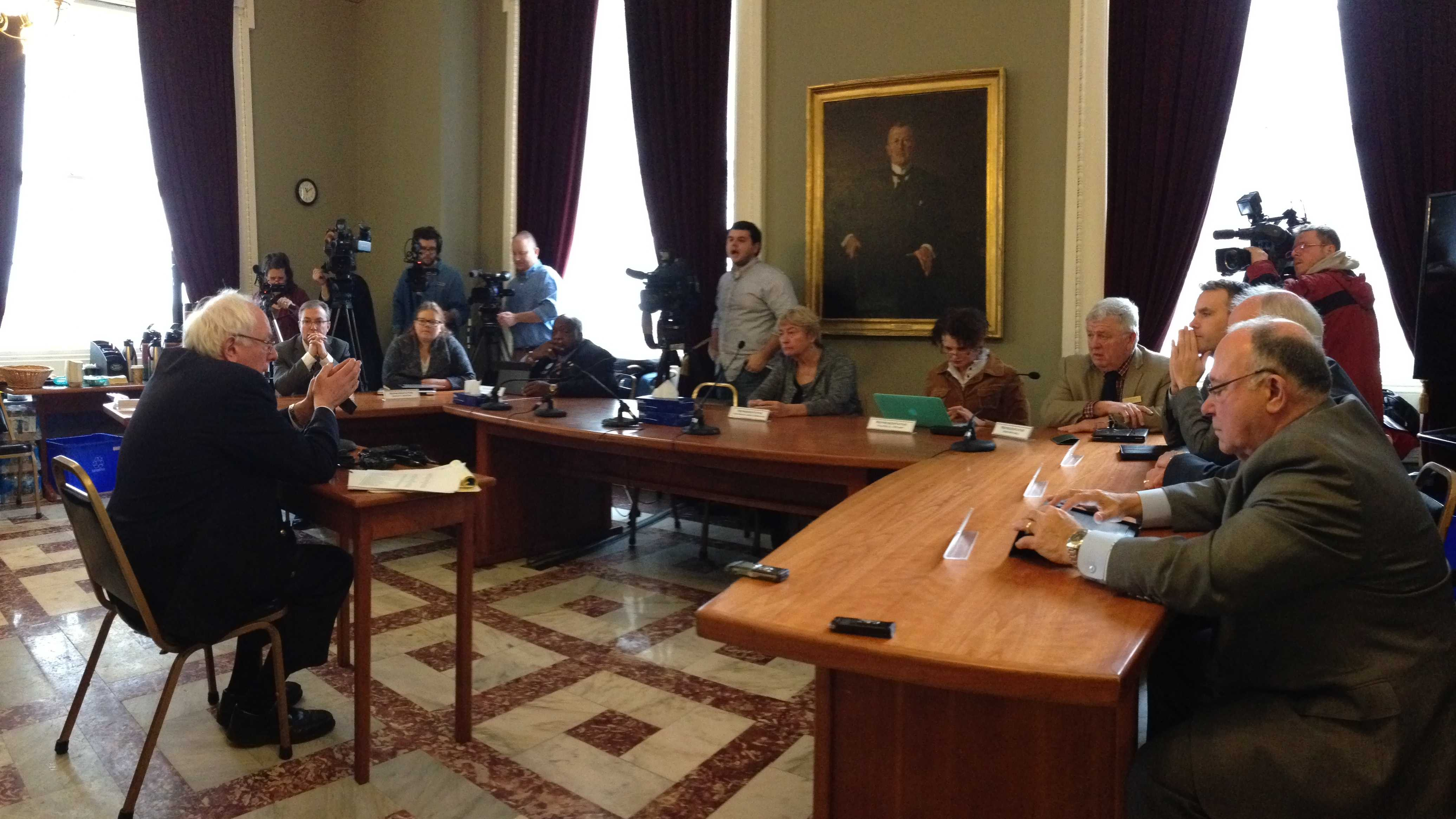 U.S. Sen. Bernie Sanders briefs state lawmakers Wednesday morning.
