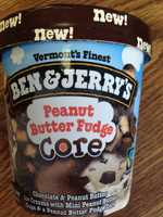 Peanut Butter Fudge: Chocolate and peanut butter ice creams with mini peanut butter cups split by a peanut butter fudge core.
