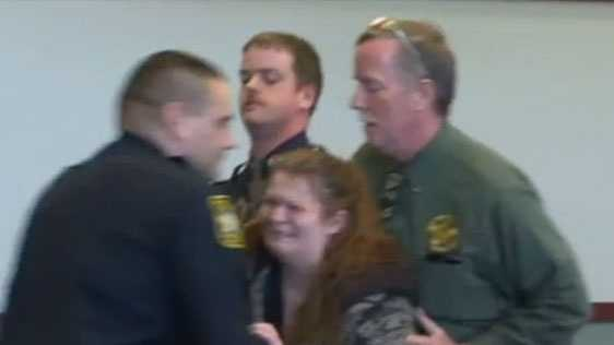 Sandra Eastman, Dezirae Sheldon's mother, had to be restrained Monday after she charged the defense table during her husband's hearing. Her husband, Dennis Duby, is charged with second-degree murder stemming from Dezirae's death.