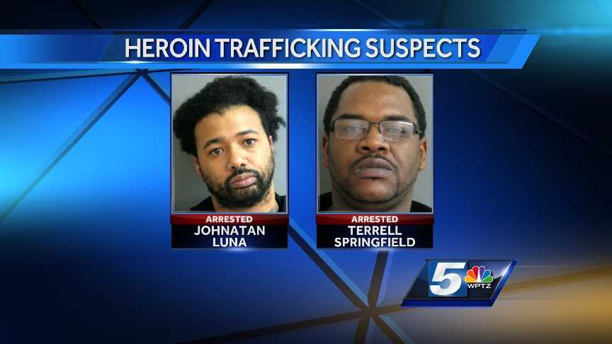 Johnatan Luna and Terrell Springfield, of New York City, were arrested Tuesday morning after Vermont State Police found 1,000 bags of heroin in their vehicle. Both are charged with trafficking.