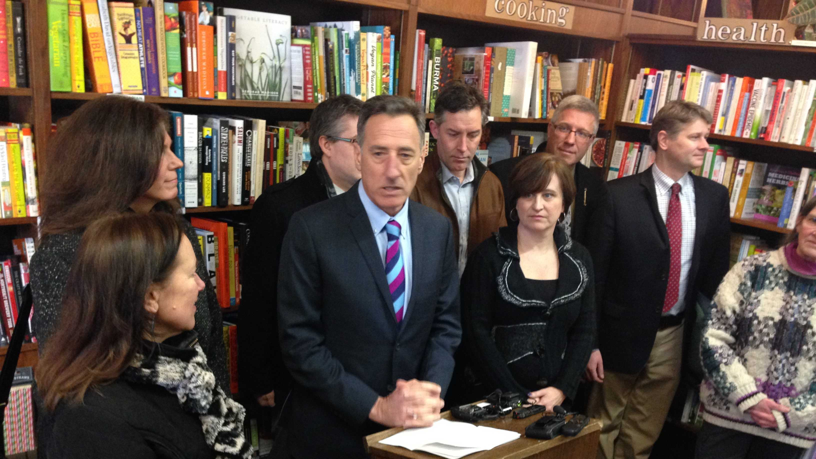 Gov. Peter speaks about minimum wage at Bear Pond Books in Montpelier.
