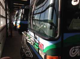 Buses sit idle at CCTA headquarters Monday.