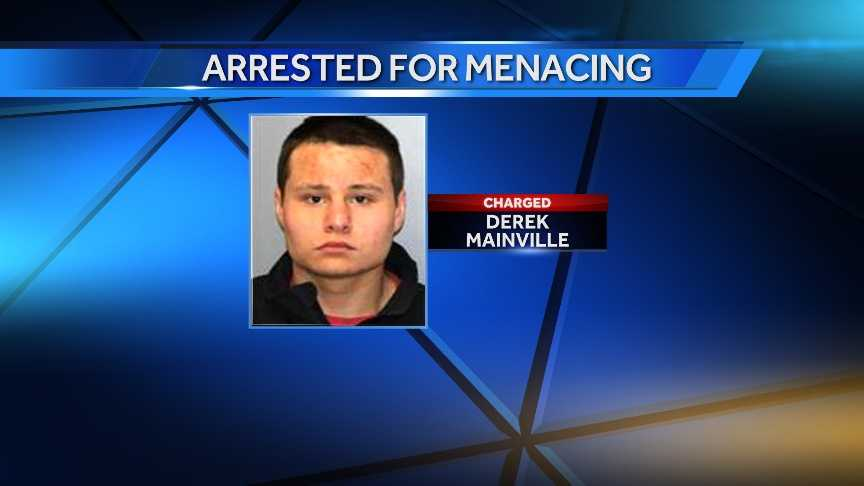 Derek Mainville was charged with second-degree menacing and fourth-degree criminal possession of a weapon after police say he pointed a loaded shotgun at a woman during a domestic dispute.